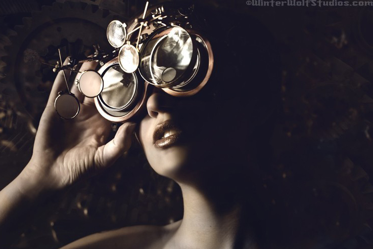 Steampunk girl goggles