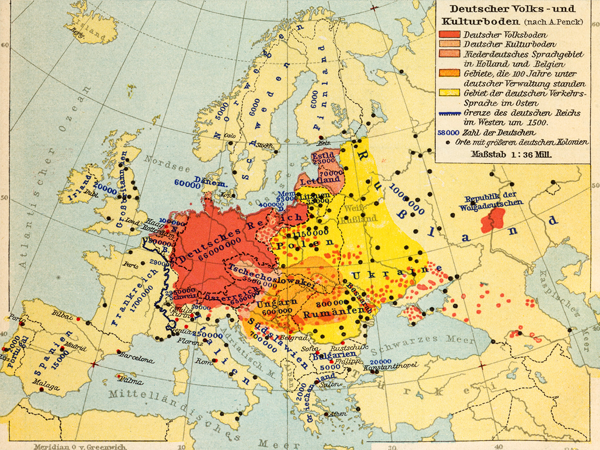 1936 Germany Europe map – Never Was Magazine