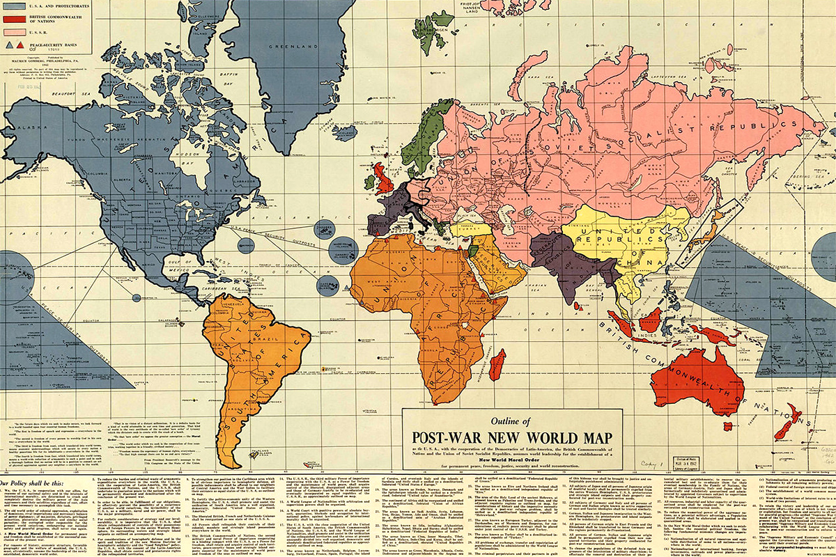 1942 Post-War New World map